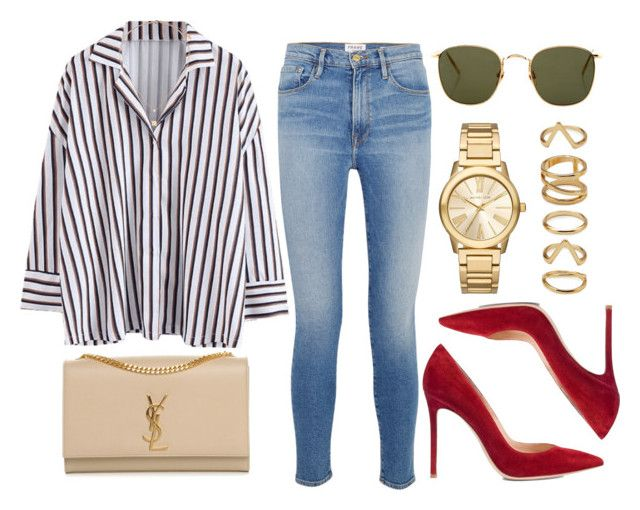 """""""#14628"""" by vany-alvarado ❤ liked on Polyvore featuring Frame, Linda Farrow, Gianvito Rossi, Topshop, Michael Kors, Yves Saint Laurent and Forever 21"""