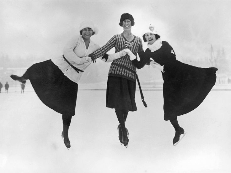 This jolly trio won the gold, silver and bronze medals for figure skating, in the first Winter Olympics. The games were held in Chamonix, France between 25 January and 5 February, 1924