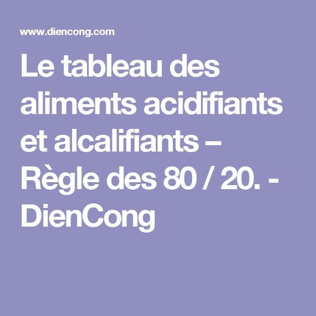 Le tableau des aliments acidifiants et alcalifiants – Règle des 80 / 20. - DienCong