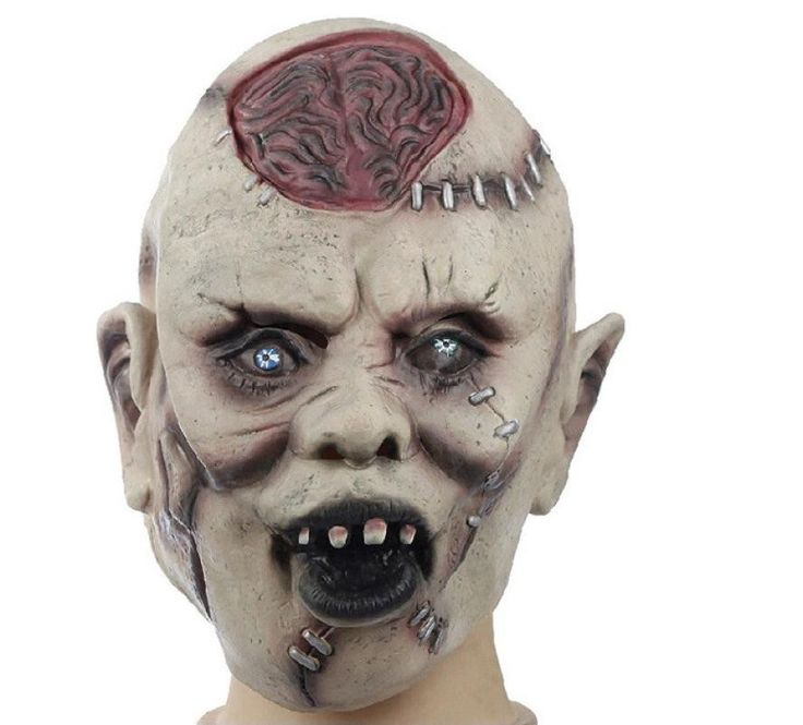 silicone masks halloween scary brain cells exposed pattern scar wrinkle mask masque horreur