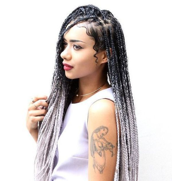 Ombre hair with box braids