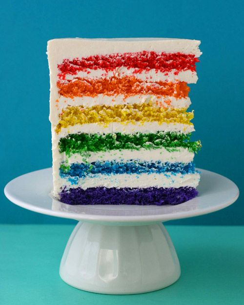 Rainbow Layer Cake recipe from Martha StewartCake Recipe, Birthday Parties, Food, Rainbow Cakes, Rainbows Cake, Martha Stewart, Rainbows Birthday Cake, Layered Cake, Birthday Cakes