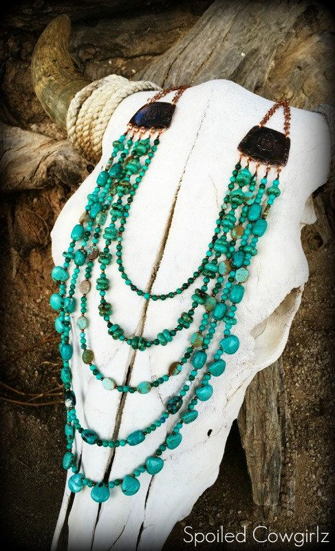 Handmade, Turquoise, Stamped, Southwest, Recycled, Copper, Layered, 5 Strand, Multistrand, Navajo Inspired, Arizona, Statement, Jewelry