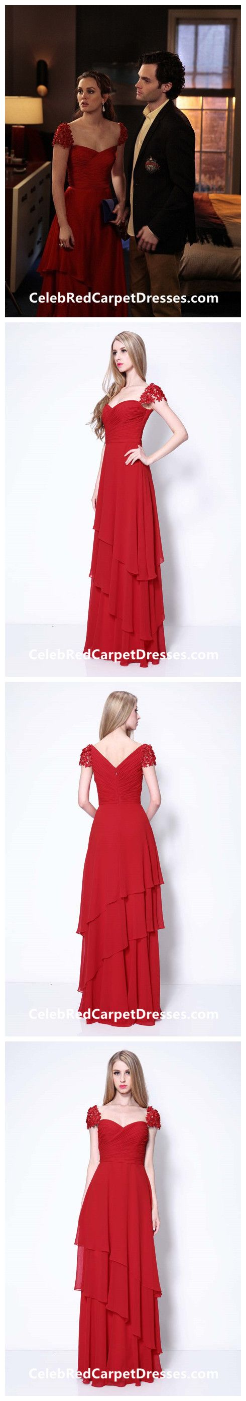 Leighton Meester Cap-sleeve Red Dress in Gossip Girl Season 5