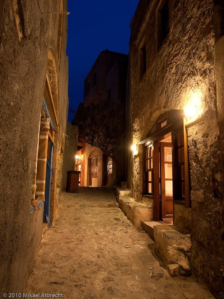 Monemvasia by night, Laconia, Peloponnesus, Greece