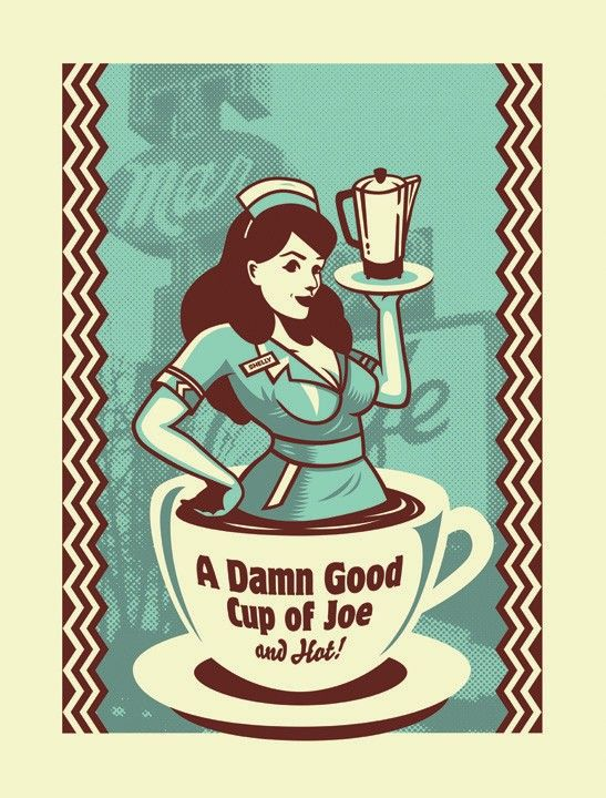 A Damn Good Cup of Joe! ...and Hot! #pinup #coffee #diner