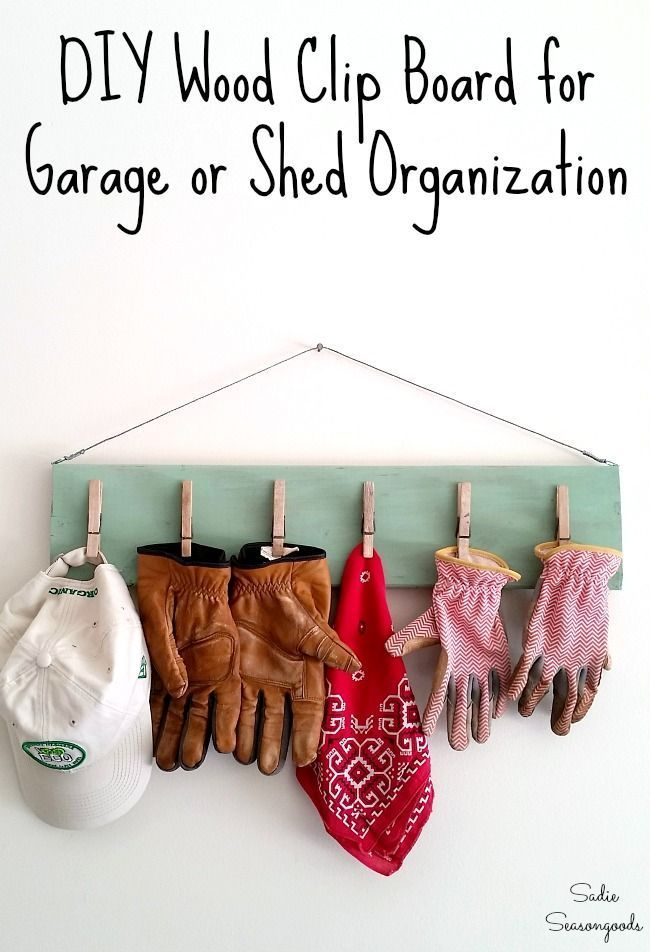 Always losing your gardening gloves in your garage? You can make this wood clip board in a day and it will solve ALL OF YOUR PROBLEMS! Perfect for garage storage or shed organization, it'll keep your work gloves in place until the next time you need them. Get all the upcycling details at www.sadieseasongoods.com .
