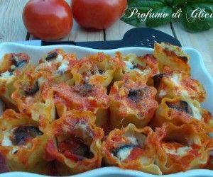 Bouchet di lasagne ricce alle melanzane
