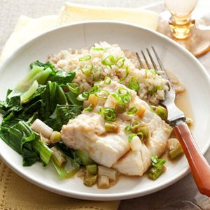 Ginger-Soy Steamed Cod Recipe - I would make this in the oven making a parchment paper or foil pouch for the steaming