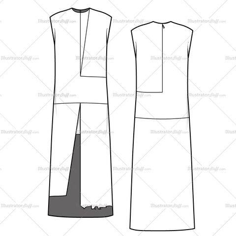 Women's Colorblock Tunic Dress Fashion Flat Template