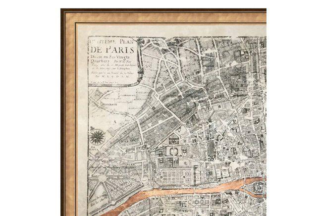 Real Rose Gold Leaf Paris Map