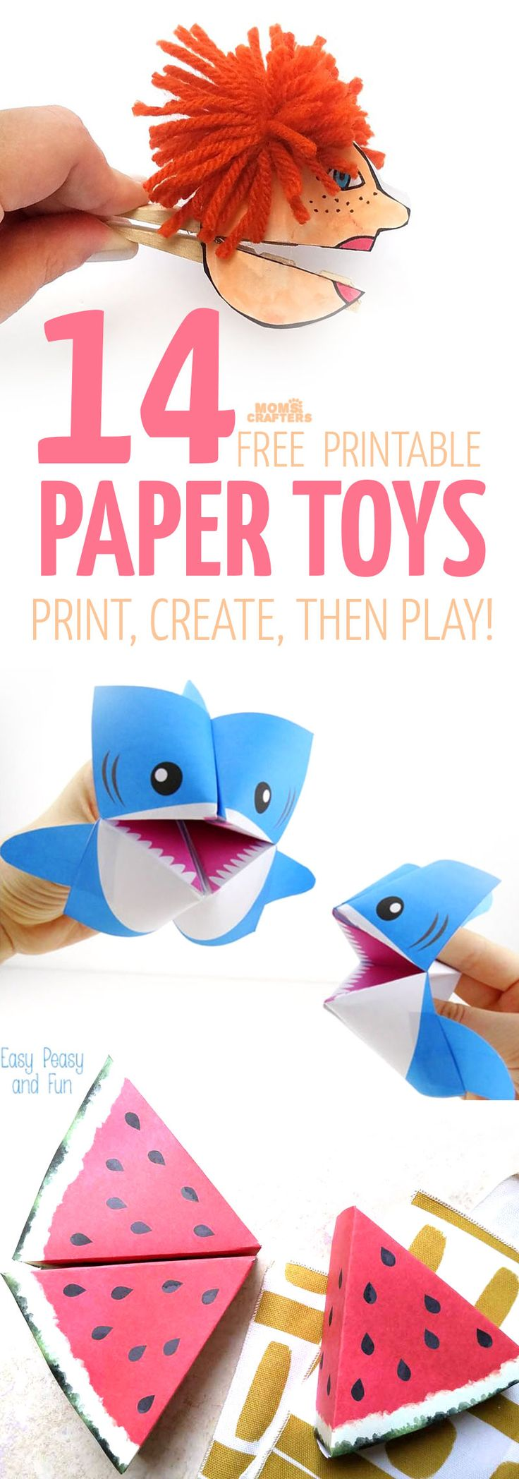 I love paper toy templates - you can really refresh them frequently, and then recycle them when you're done. These free printables for play make awesome paper crafts for kids and adults and provide so much pretend play opportunities too!