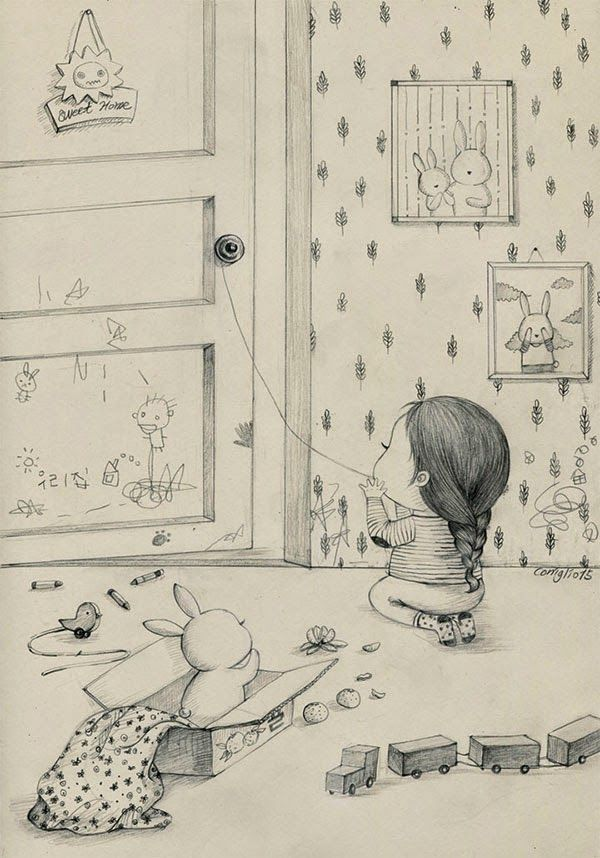 A Girl and Her Pet Rabbit: Drawings by Coniglio   Faith is Torment   Art and…
