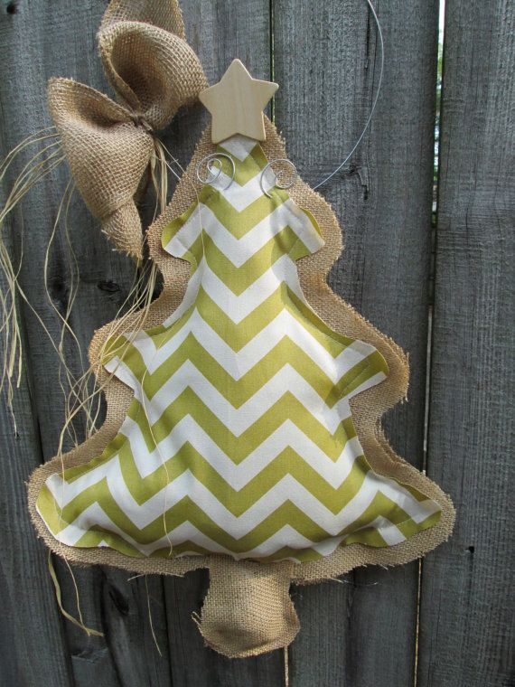 Burlap Christmas Tree Green Chevron Fabric Burlap Door Hanger on Etsy, $28.00
