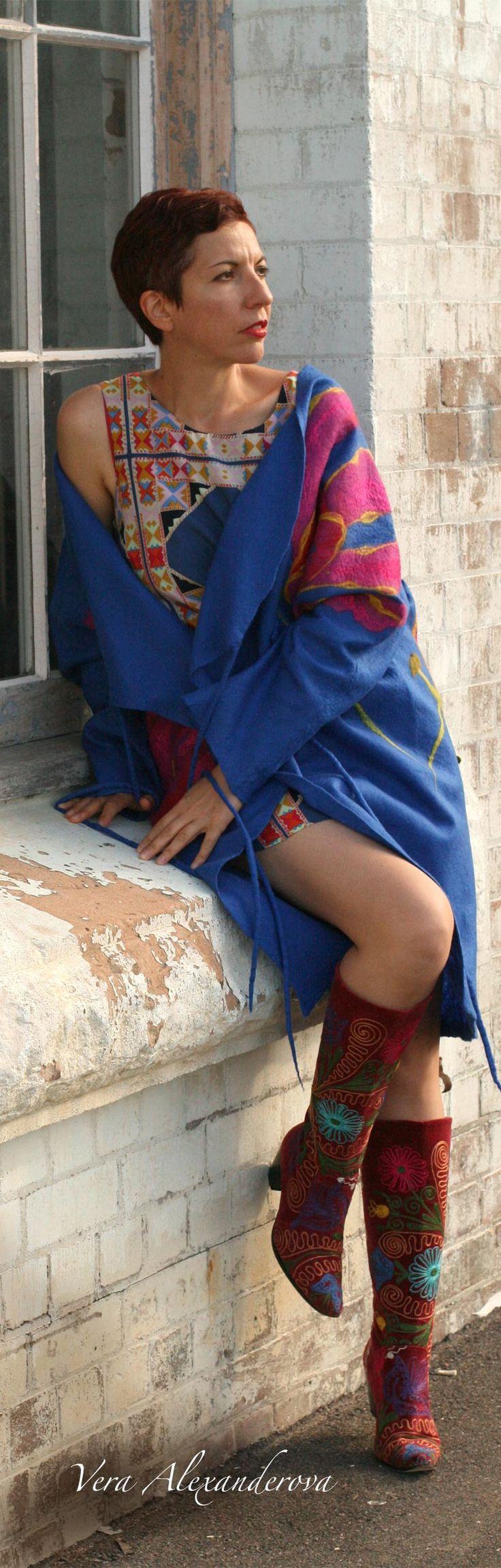 Buy fashion cozy style blue jacket by Vera Alexanderova. #fashion #boho #cozy #womensfashion #unique #felt #wool #blue