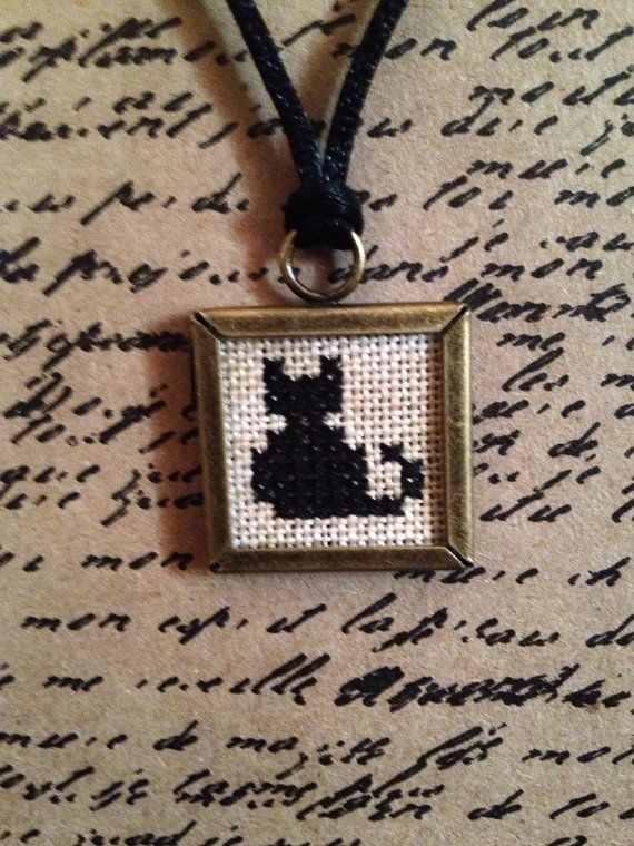 Primitive Cross Stitch Black Cat Framed by VintageTrimmings, $10.00 - such a cute black cat - reminds me of Morgan...