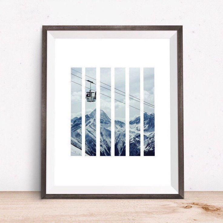 Mountain Decor, Geometric Mountain, Living Room Decor, Winter Photography, Modern Minimal, Mountain Peak, Cable Car, Mountain Print by OjuDesign on Etsy https://www.etsy.com/uk/listing/253138957/mountain-decor-geometric-mountain-living