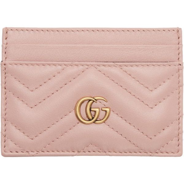 Gucci Pink GG Marmont Card Holder (1 855 SEK) ❤ liked on Polyvore featuring bags, wallets, pink, gucci, quilted leather bag, pink bag, card holder wallet and hardware bag
