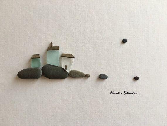 6 by 8 little seaside village pebble art with sea by PebbleArt