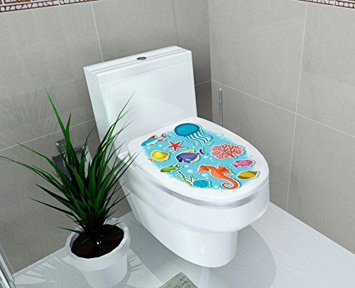 "DNVEN (14""w X 16""h) Ocean Under the Sea Tropical Animals Sea Horse Jellyfish Coral Bathroom Toilet Seat Lid Cover Decals Stickers  BIG SALE! Reuse,Recycle, Refresh your Home with Dnven Wall Decal!  Picture for reference only. Applied size - 14"" x 16"". Easy to apply - just peel and stick!  Patience is required when applying this.  NOTES: Make it flat before putting it up.  All rights reserved by Dnven®. Any unauthorized uses are illegal."