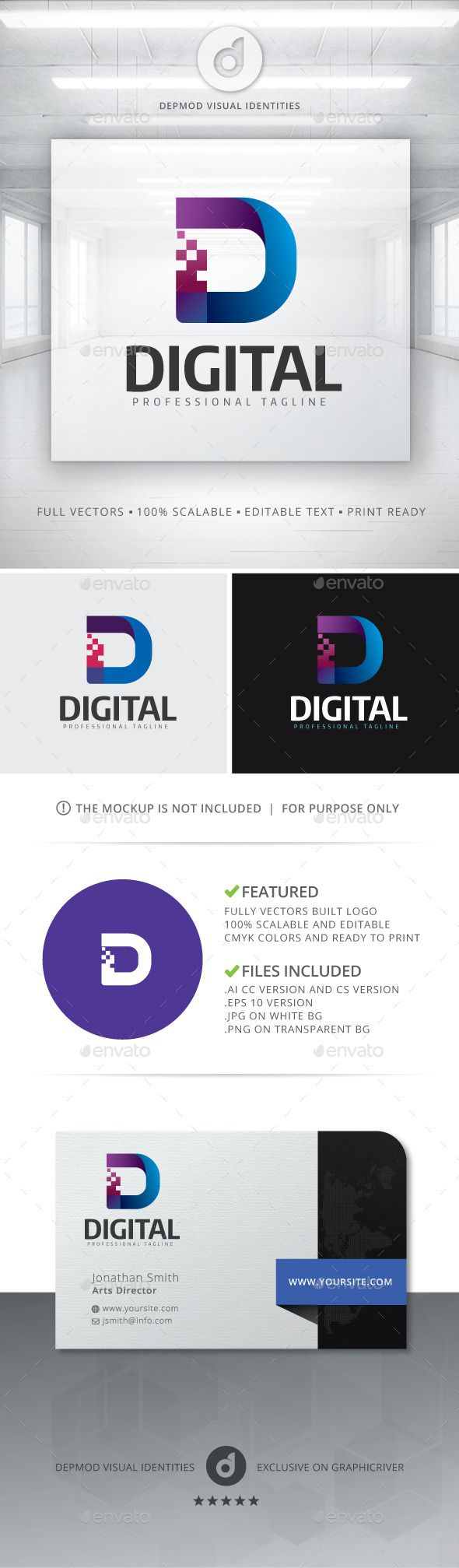 Digital - Logo Design Template Vector #logotype Download it here: http://graphicriver.net/item/digital-logo/12116265?s_rank=231?ref=nesto