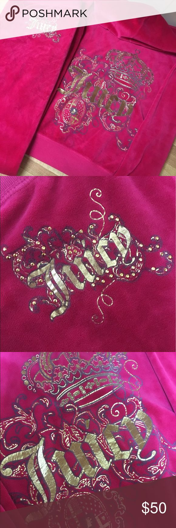 JUICY COUTURE SWEATSUIT PINK VELOUR GIRLS SIZE 14 AUTHENTIC JUICY COUTURE HOT PINK EMBELLISHED SWEATSUIT!! INCLUDES PANTS AND HOODIE BOTH WITH EMBELISSHMENT IN GREAT CONDITION!!GIRLS SIZE 14 !!! CAN FIT A WOMENS XS !! VERY DETAILED !!  COMES FROM SMOKE FREE & PET FREE HOME.PLEASE FEEL FREE TO SEND BEST OFFERS IF INTERESTED. PRICES ARE ALWAYS NEGOTIABLE !! Juicy Couture Other