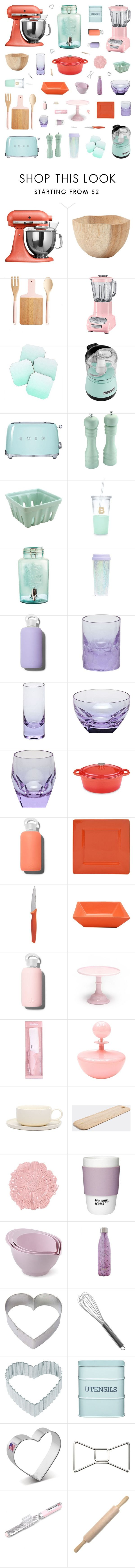 """""""Coral, Pink, Mint & Violet Kitchen Decor"""" by belenloperfido on Polyvore featuring interior, interiors, interior design, home, home decor, interior decorating, KitchenAid, DENY Designs, Smeg and Kate Spade"""