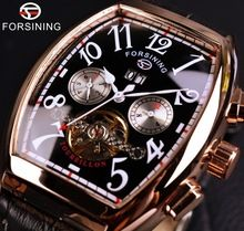 Forsining Date Month Display Rose Gold Case Mens Watches Top Brand Luxury Automatic Watch Montre Homme Clock Men Casual Watch(China (Mainland))