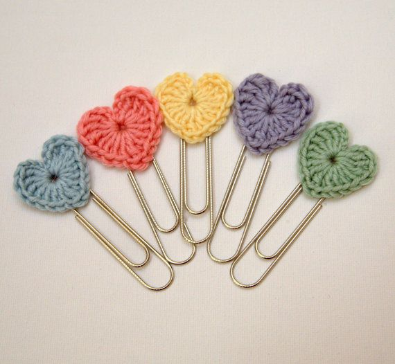 Hey, I found this really awesome Etsy listing at https://www.etsy.com/listing/174790145/set-of-3-crochet-heart-jumbo-paperclip