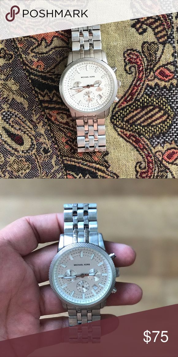 Micheal Kors Silver-Tone Oversized Watch Case Size: 45mm Case thickness: 14.5 Michael Kors Accessories Watches
