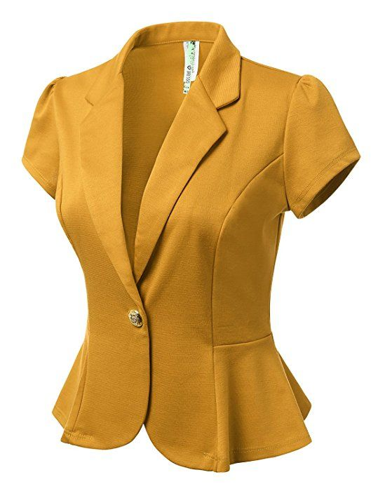 DRESSIS Womens Petal Short Sleeve Slim Fit Blazer Jacket w/ Single Button at Amazon Women's Clothing store:
