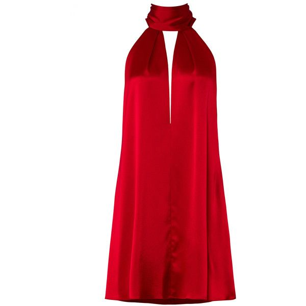 GALVAN Deep Red Sash Dress ($180) ❤ liked on Polyvore featuring dresses, mini dress, short dresses, sash belt, red dress and red sash belt