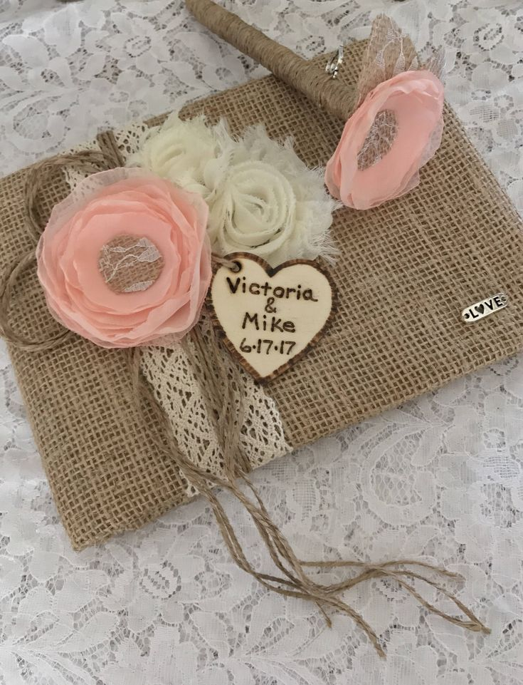 Wedding Guest Book, Rustic Guest Book & Pen Set, Peach Guest Book, YOUR CHOICE COLOR, Burlap Guest Book, Bridal Shower Guest Book by therusticcharmer on Etsy https://www.etsy.com/listing/558489568/wedding-guest-book-rustic-guest-book-pen