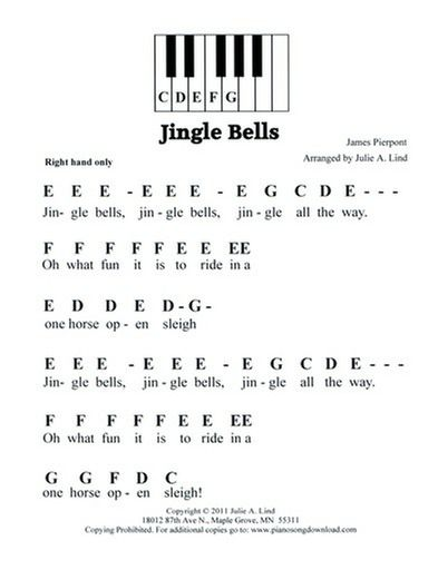 Jingle Bells pre staff printable piano music for preschool and beginning piano lessons.