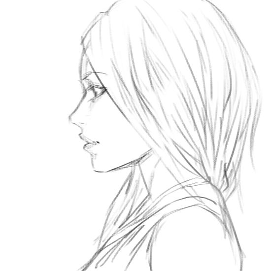 Girl side view-sketch by BunSyo on DeviantArt