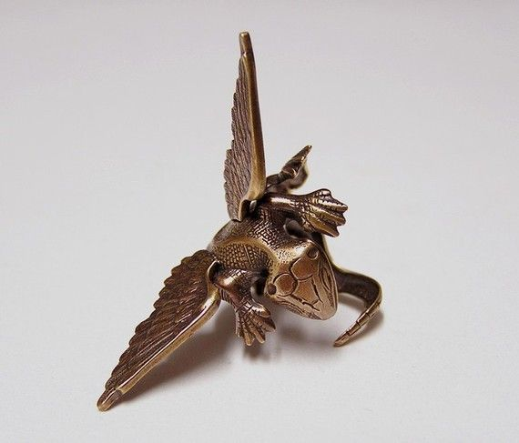 Steampunk Dragon Ring dragon body wrap around by chinookhugs, $69.99