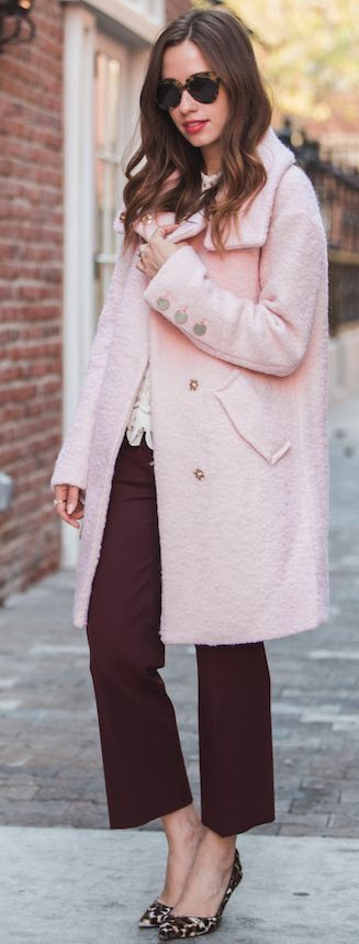 M Loves M Pink Coat On Black Cropped Pants Fall Street Style Inspo                                                                             Source