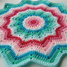 Pattern ~ rainbow ripple baby blanket by Celeste Young available for free download on Ravelry Yarn ~ Stylecraft Yarns Special DK in pomegranate fondant candy floss white turquoise aspen and sherbet
