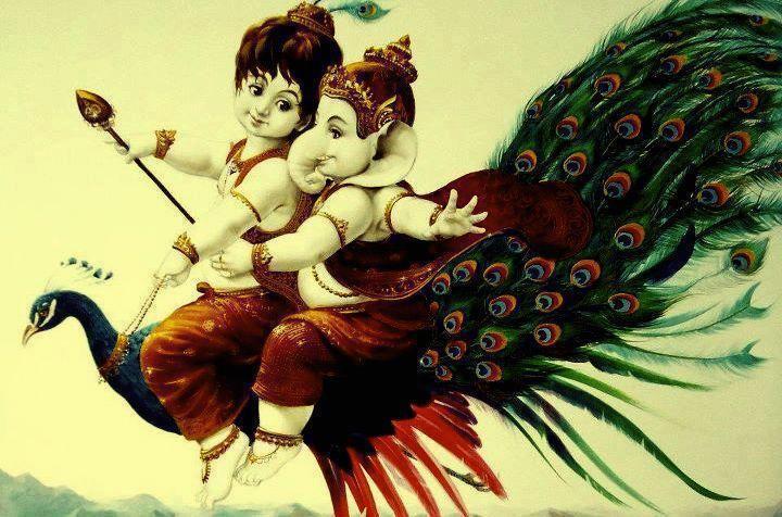 Lord Krishna & Ganesha - Beautiful & Cute Painting