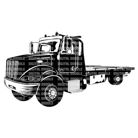 Rollback Tow Truck Svg Wrecker Clip Art Vector Digital Download