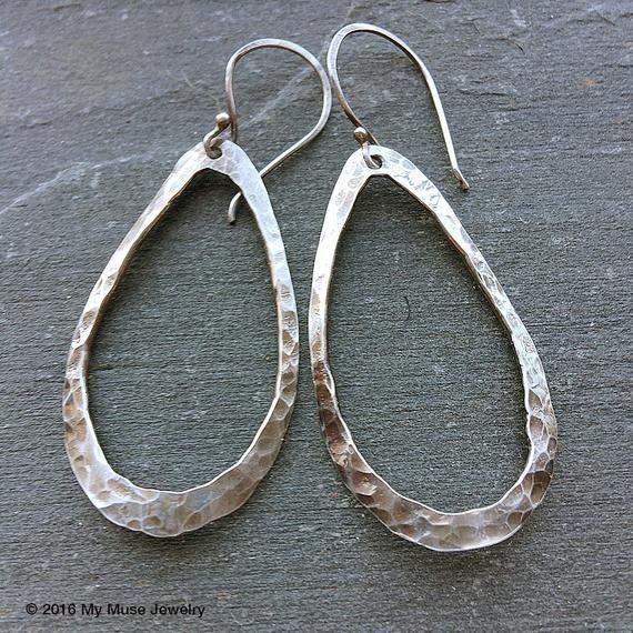 Dark Silver Earrings Silver Teardrop Earrings Hammered Hoop Etsy In 2020 Long Silver Earrings Silver Drop Earrings Sterling Earrings