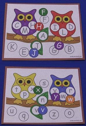 Owl Alphabet Match Mats