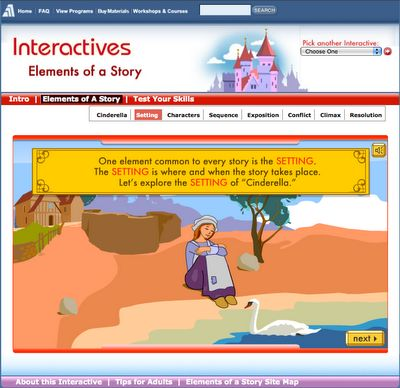 Interactives - a really cool interactive website on Story Elements! Can use this site for Social Studies
