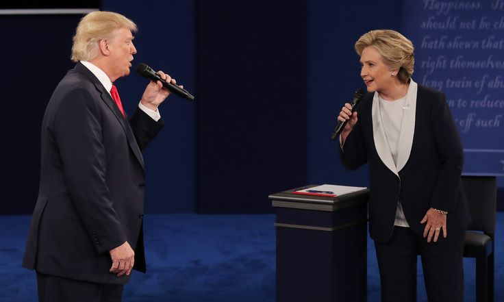 9 October 2016  Hillary Clinton and Trump during the second presidential debate at Washington University in St Louis, Missouri