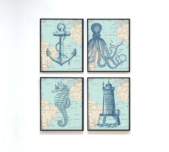 Nautical Map Sea Life Set of 4 Prints - Vintage Ocean Map Chart - Anchor, Octopus, Seahorse, Lighthouse - Beach House Bathroom Decor on Etsy, $30.00