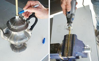 Paso 3) Si necesita modificar el alto de la lámpara, primero mida y marque la longitud de la varilla roscada que tendrás que cortar, según el tipo de iluminación que desee obtener. Asegure la varilla en cualquier tipo de morsa o prensa y corte a lo largo de la línea marcada con su minitorno.  Inserte el aditamento protector A550 con encastre EZ Lock. Asegure la rueda de corte EZ409 y ponga la velocidad de corte al máximo.
