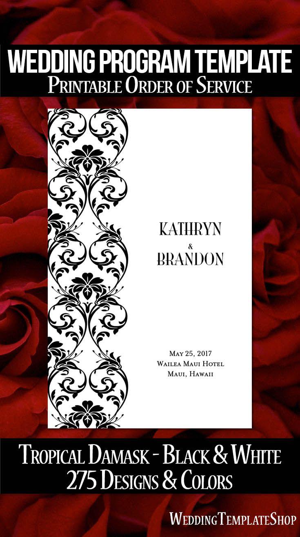 DIY Wedding Program, Printable  Order of Service Template in Black & White.
