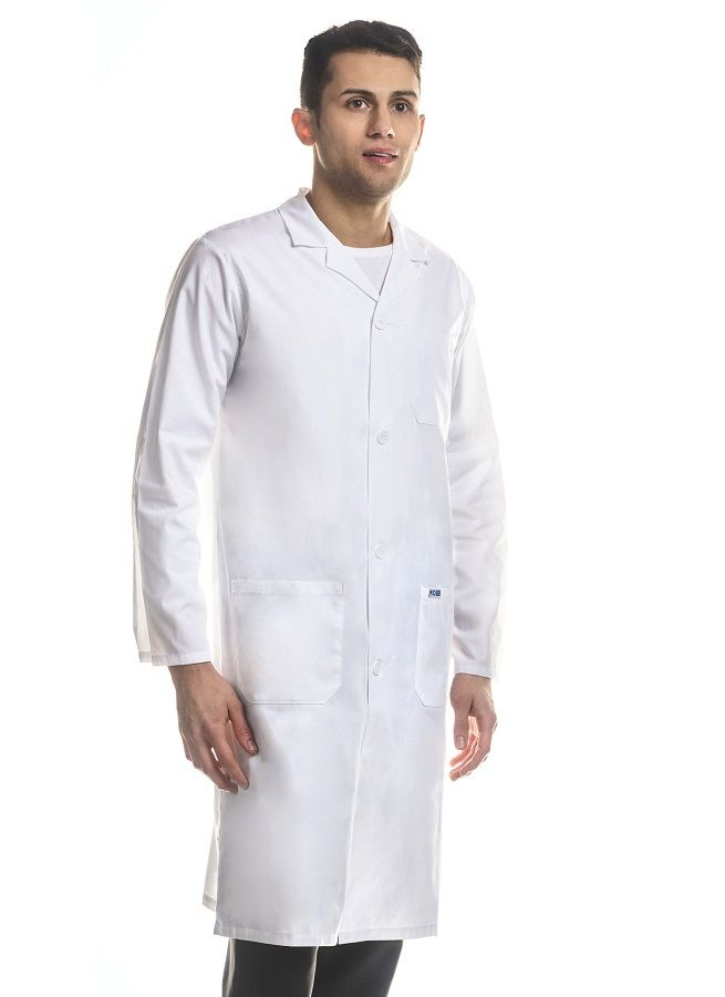 L506  Full-Length Unisex Lab Coat  The essential for every medical professional. This Full-Length Unisex Lab Coat features a Standard button front closure with  two patch pockets, one chest pocket and side access slits.  MOBB Cotton : 100% Pre-shrunk Cotton