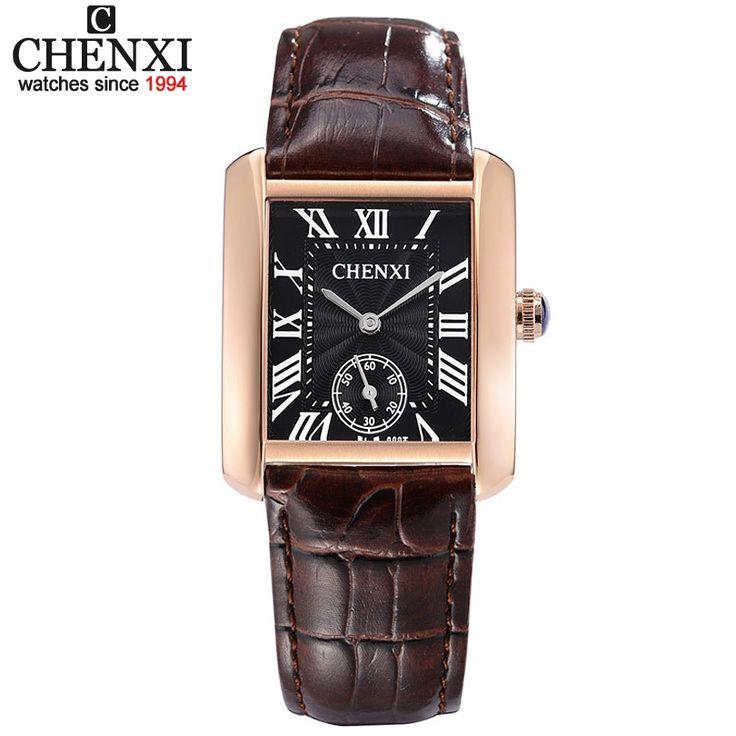 Маленький циферблат работать бренд CHENXI Повседневное пару часов Коричневый Золотой Комбинации квадратный Повседневные часы для Для мужчин ...