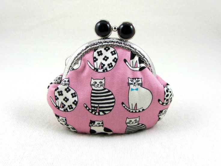 Cat coin purse, change purse , frame coin pouch, handmade clasp purse, pink and black cat pouch by JRsbags on Etsy